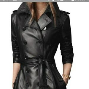 Jackets & Blazers - Black 3 quarter length pu, leather trench coat